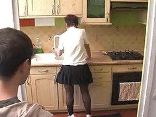 Kitchen Mom Skirt Milf Stockings Old And Young Stockings