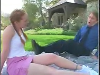 Old And Young Outdoor Pigtail Dad Teen Daddy Daughter