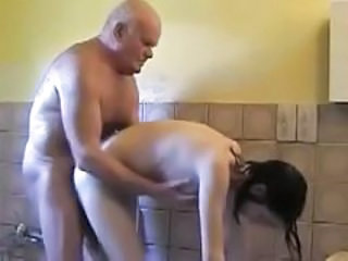 Daddy Daughter Old and Young Bathroom Teen Dad Teen Daddy