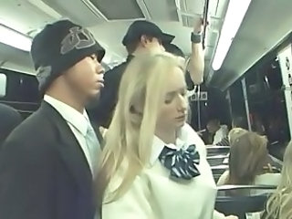 Public train ride is a danger for a blonde girl