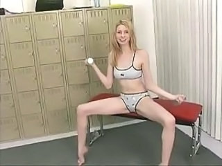 Sporty girl stretches her pussy lips to the max and then rides dildo