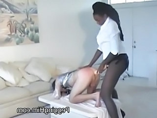 Two massive black muscle women fuck a tiny white guy in the  free