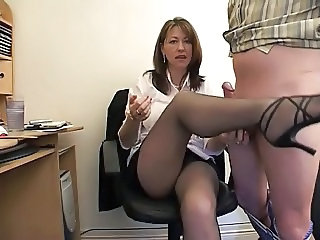 Handjob Legs Secretary Handjob Amateur Milf Office Milf Stockings