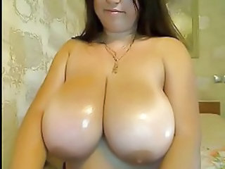 Oiled Webcam BBW Babe Big Tits Bathroom Tits Bbw Milf