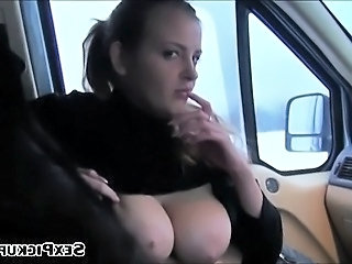Huge tits euro babe Alexa picked up in snowy land and fucked