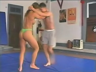 Topless mixed wrestling fitness model charlene rink vs. gr
