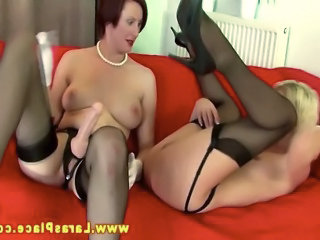 Video from: tnaflix | Mature lesbians loves strapon ass fucking on their couch HD