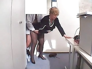 Mature Secretary Office Mature Stockings Stockings