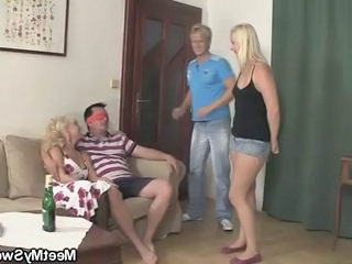 Mom seduces his GF into threesome