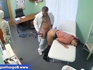 Brunette babe sucks her doctor cocks
