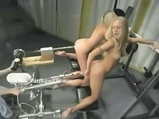 Pair of sexy blondes fucking eachother with huge fucking machines learning how to use the big guns with their tight pussies in amazing climax video sh