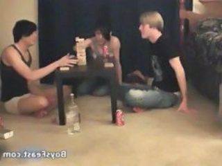 Super hot gay teens having a game party part1