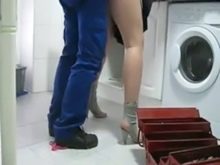 Clothed Doggystyle Kitchen Plumber