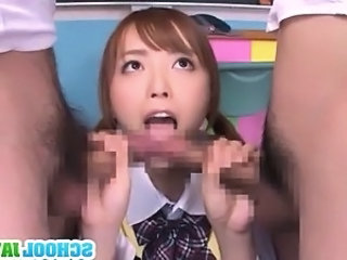 Sexy chick Yuu Namiki nice double blowjob action!