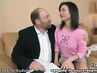 Old And Young Student Teacher Coed Dad Teen Daddy