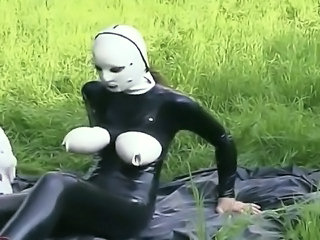 Video from: tnaflix | Big breasted domina in latex loves playing with sex toys outdoors