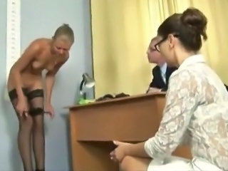 Awesome Doctor and Nurse have Their Sleaze Blonde Patient To Strip
