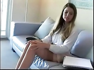 Smoking Cute Secretary Stockings