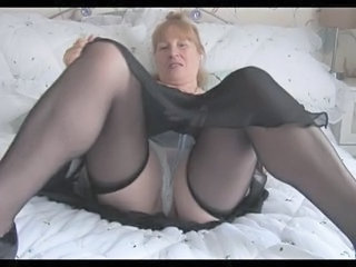 Busty Hairy Granny In Stockings...