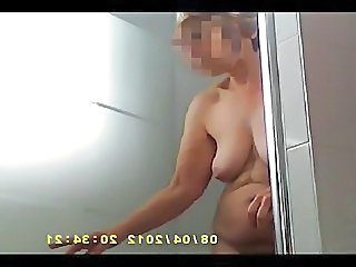 Annabelle exits from shower