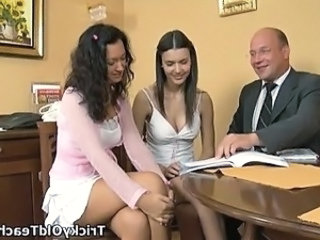 Lustful teacher fucks two coeds.