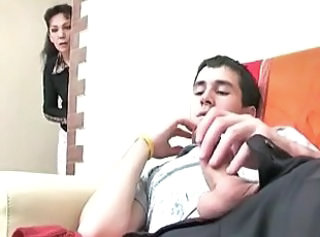 Mom catches stepson masturbating and helps him