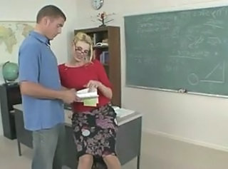 Teacher Blonde Glasses Milf Ass Old And Young School Teacher