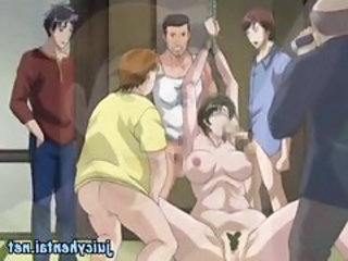 Busty brunette anime babe is getting...
