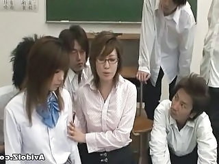 Glasses Teacher School Abuse Bus + Asian Japanese Milf