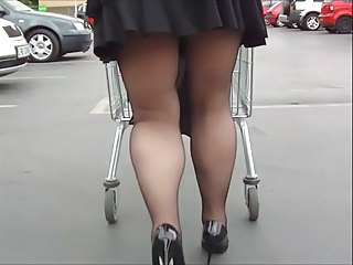Black Tights Mini Skirt And Heels