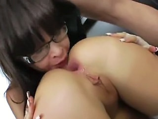 Babe Close up Glasses Ass Licking Babe Ass Brutal