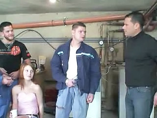 Workmen take care of a redhead teen part 4