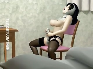 3D hentai nun in stockings dildo twat