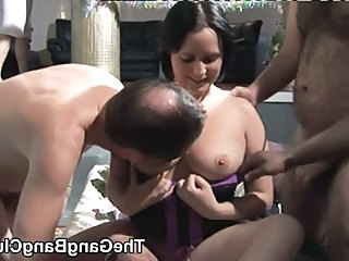 Amateur British gangbang with 2 females - part 1