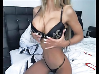Amazing blonde webcam whore dp masturbation in high heels
