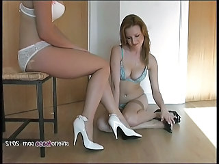 Lesbian babes talk dirty in lingerie and tease in heels