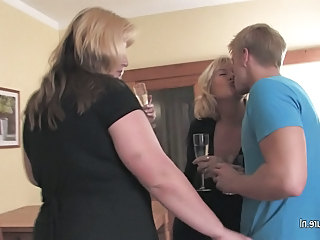3 grannies fucked by 1 young boy