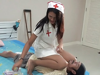 nurse angela facesitting small skinny dude