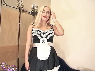 UK pornstar Kaz B dresses in French maids uniform fun