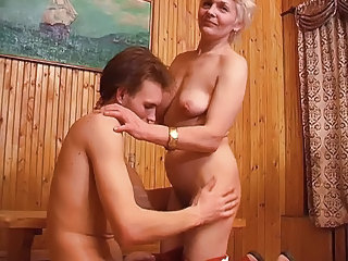 Skinny mom with flabby saggy small tits &