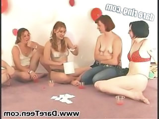 Two guys get lucky playing sex games with some horny chicks
