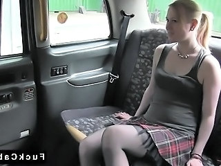 Hirsute British blonde banged in fake taxi