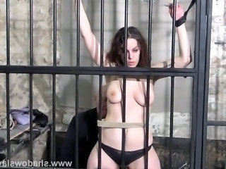 Female prisoner whipping and harsh bondage punishments of amateur bdsm slave...
