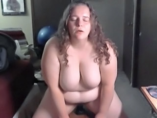 BBW Anally Fucks Big Black Dildo