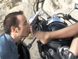 Babe On A Motorcycle Gets Some Foot Wors...