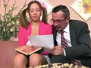 Tricky teacher seducing lovely student