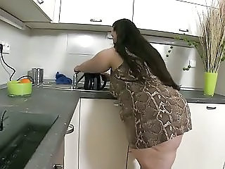 Ssbbw Solo In Kitchen