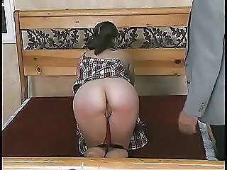 Guy Makes Girl Bend Over And He Spanks Her Hard For Being Naughty