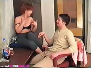 Mature Russian Housewife Blows His Rod A...