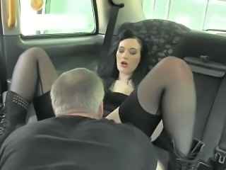 Horny customer fucked by pervert driver in the backseat